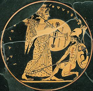 Oltos - Athena and Enkelados in combat, red-figure plate, Louvre CA 3662.
