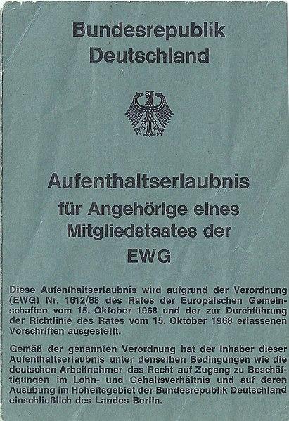 Datei:Aufenthaltserlaubnis für Angehörige eines Mitgliedsstaates der EWG - Bundesrepublik Deutschland 1980 - Seite 1.jpg