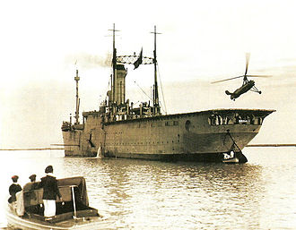 Spanish seaplane carrier Dédalo - The first rotorcraft to take off and land on the deck of a ship, 7 March 1934