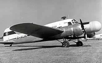 EKCO - Ekco Electronics Avro Anson XI at Blackbushe Airport in 1954, wearing the company's trademark on its tail