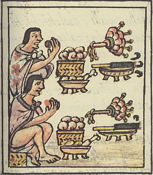 Aztec cuisine - Aztec men at a feast. Florentine Codex.