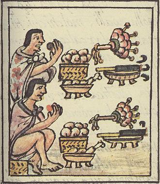 Aztec cuisine - Aztec men at a feast. Florentine Codex.