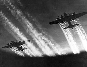 Military history of the United States during World War II - Two U.S. B-17 Flying Fortresses in flight over Europe.