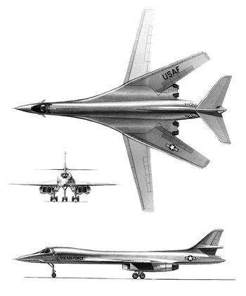 Three sketched diagrams showing the front, top and side views of the B-1. The top view, in particular, shows the maximum sweep angles of the wings