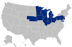 2010–14 Big Ten Conference realignment - Image: B1Gmap 14