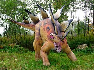 Model of stegosaurus in Bałtów Jurassic Park, ...