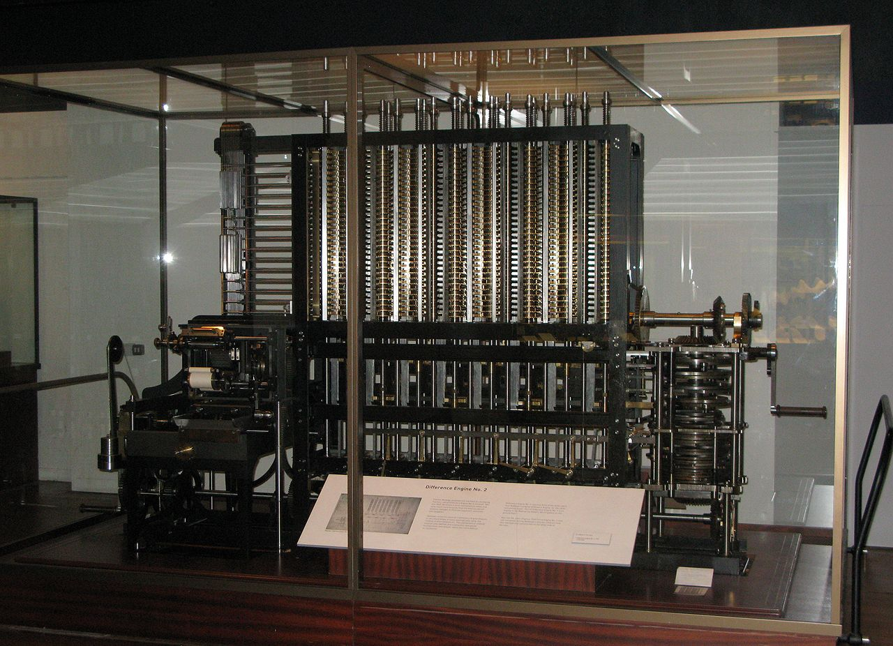A picture of a modern recreation of Babbage's Difference Engine