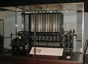 Difference engine -  The London Science Museum's difference engine, the first one actually built from Babbage's design. The design has the same precision on all columns, but when calculating polynomials, the precision on the higher-order columns could be lower.