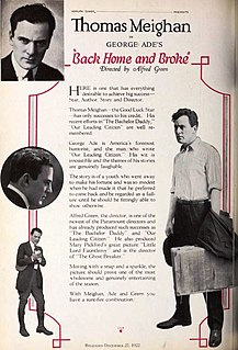 <i>Back Home and Broke</i> 1922 American comedy silent film directed by Alfred Edward Green