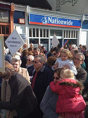 Bagshot - Bagshot bank protest 7 March 2009