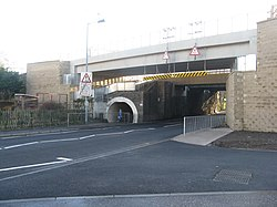 Balgreen Road goes under the railway (geograph 3806645).jpg
