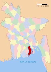 Localizzazione dell'isola di Bhola.