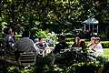 Barack Obama President Barack Obama and his senior advisors meeting in the Rose Garden.jpg