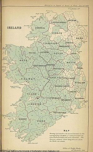 Barony (Ireland) - Baronies and counties of Ireland in 1846