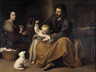 Bartolomé Esteban Murillo - The Holy Family with dog, c. 1645–50, Museo del Prado