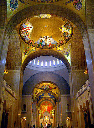 Interior view of the Basilica of the National ...