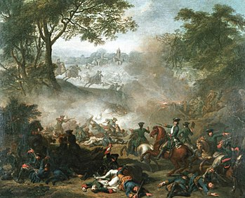 Battle of Lesnaya, the painting by Jean Marc Nattier, (1717)