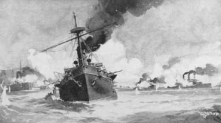 """Battle of Manila Bay"", painting by W. G. Wood, circa 1898. Reina Cristina (foreground) in action against Dewey's squadron (right). Battle of Manila Bay by W. G. Wood.jpg"