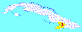 Bayamo municipality (red) within  Granma Province (yellow) and Cuba