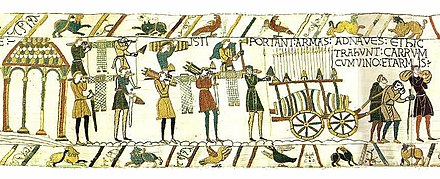 Scene from the Bayeux Tapestry showing Normans preparing for the invasion of England BayeuxTapestryScene37.jpg