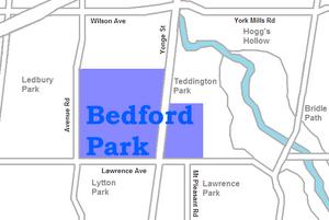 Bedford Park, Toronto - Image: Bedford Park map