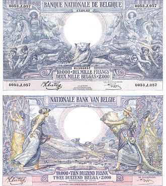 Belgian franc - The obverse (top) and reverse of the Belgian banknote of 1929 featuring Ceres, the Belgian Lion and Neptune.