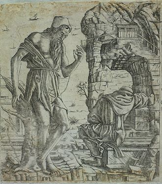 Benedetto Montagna - St Paul the Hermit sees the death of St Anthony the Abbot, engraving