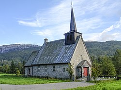 View of the Bergsdalen Church in Vaksdal