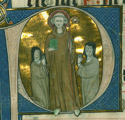 A 13th-century depiction of Bernard of Clairvaux, with whom Stephen argued over ecclesiastical policy Bernard of Clairvaux 13th century.jpg