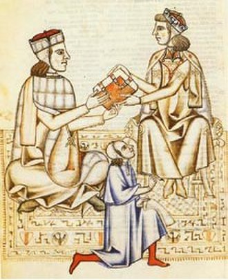 Manfred, King of Sicily - 13th-century depiction of writer Johensis presenting Manfred with the Bibbia di Manfredi
