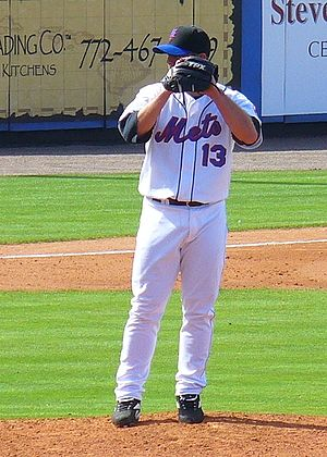 Logos and uniforms of the New York Mets - This photo of pitcher Billy Wagner shows the Mets' de facto home uniform from 1998-2009. The cap shown was actually an alternate, and later designated as the road cap; the uniform shown was also an alternate, although it was designated the primary home uniform in 2010 and 2011.