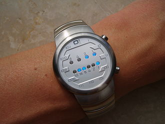 Binary clock - Time Technology's Samui Moon binary-coded sexagesimal wristwatch. This clock reads 3:25.
