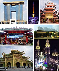 Clockwise, from top left: Bình Dương Administration Center, Clock Tower of Thủ Dầu Một's six-way intersection, Hội An Pagoda, Hội Khánh Temple, Phú Cường Cathedral, Đại Nam Văn Hiến, Temple of Lady Thiên Hậu.