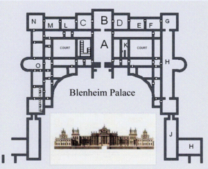 "State room - Blenheim Palace, un-scaled plan of the piano nobile. The state apartments are the two sets of rooms either side of the principal dining room (Saloon) marked ""B"".  The master and mistress (here the Duke and Duchess of Marlborough) lived their everyday lives in the similarly arranged but smaller suites either side of the smaller dining room marked ""O"""