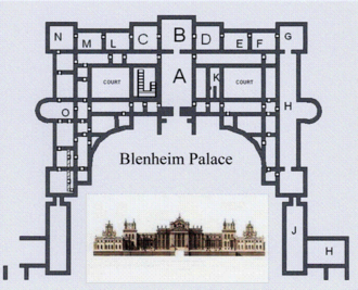 "Corps de logis - Blenheim Palace, unscaled plan of the corps de logis, the large central block.  Secondary wings containing kitchens and domestic offices flank the corps de logis creating the ""Cour d'Honneur""."