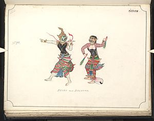 Mythical creatures in Burmese folklore - Male and female forms of the Belu, depicted in a 19th-century watercolour