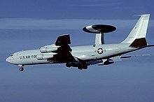 Boeing E-3A Sentry (later upgraded to an E-3B) of the 552nd Airborne Warning & Control Wing, seen in 1981.
