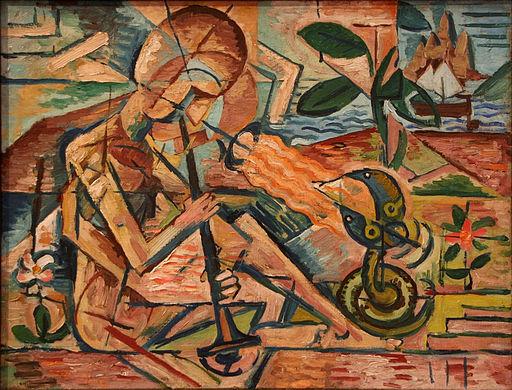 Bohumil Kubišta - Fakir Taming Snakes