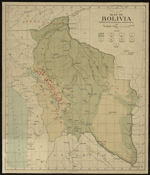 "Economy of Bolivia - ""Map of Bolivia, Showing Forest and Agriculture Areas, and Mineral Localities"" from 1912"