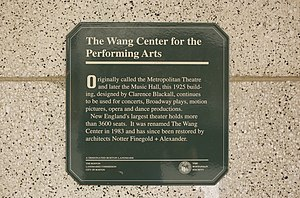 Wang Theatre - Plaque adorning the front of Wang Theatre