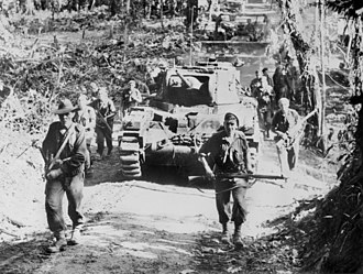 2/4th Armoured Regiment (Australia) - A 2/4th Armoured Regiment Matilda II advancing with Australian infantry on Bougainville in March 1945