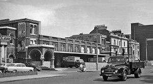 Bow railway station - Remains of the entrance in 1961