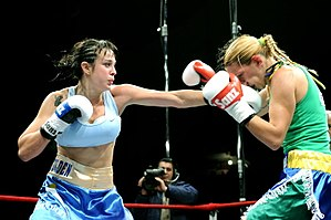 English: Women's boxing in Montevideo, Uruguay...