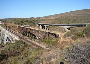 Gourits River - The Gourits River's triple bridges near Albertinia, Western Cape