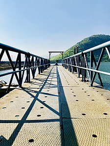 Bridge leading to Dam hole at Thatipudi dam.jpg