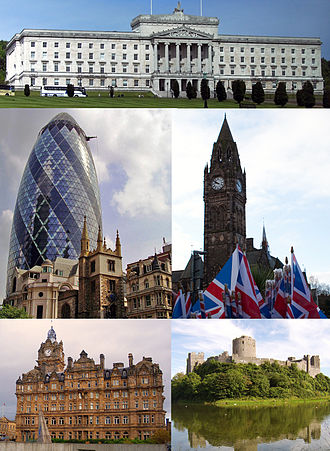 Architecture of the United Kingdom - British architecture consists of an eclectic combination of architectural styles. Top: Stormont, Northern Ireland Centre left: 30 St Mary Axe and St Andrew Undershaft Centre right: Rochdale Town Hall Bottom left: Balmoral Hotel Bottom right: Pembroke Castle
