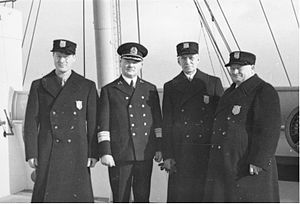 Avery Brundage - Brundage (left) and other Olympic officials on board and with the captain of the SS ''Bremen'', en route to the 1936 Winter Olympics in Garmisch-Partenkirchen, Nazi Germany