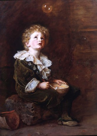 Pears (soap) - Bubbles by John Everett Millais. Pears' most famous advertisement, the painting was purchased by Thomas Barratt in August 1890.