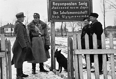 "German police (""Orpo""), Ukrainian collaborationist Schutzmannschaft troops, December 1942 Bundesarchiv Bild 121-1500, Ukraine, Ordnungspolizei, Rayonposten Sarig.jpg"