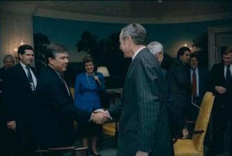 Haley Barbour - Barbour with President George H. W. Bush in 1990